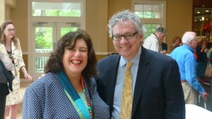 Program moderator Susan Issacs with author Kevn Baker