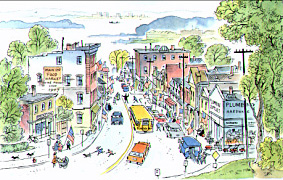 A view of lower Main Street as seen from the library's Reading Room windows, taken from Peter Spier's 1973 book The Star Spangled Banner.