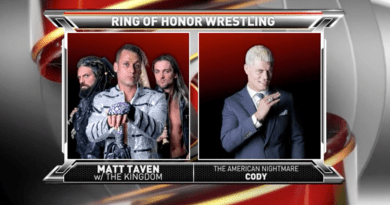 ROH 2/3/18 TV Review: Matt Taven vs. Cody 1/20/18 Municipal Auditorium Nashville, Tennessee This week was the first episode from the set of tapings from Nashville,TN. The show opened with a recap of Matt Taven squaring off with Cody and delivering a stiff low blow. Ian Riccaboni and Colt Cabana were on commentary and welcomed everyone to show. First Match: ROH World Tag Team Championship Match Best Friends (Chuckie T & Trent Beretta vs. The Motor City Machine Guns Good match between these two teams-just as Best Friends seemed poised to win, their hug by the entrance ramp was cut short by a Briscoes attack. The Briscoes then zip tied Alex Shelley to the ropes as Jay delivered a Jay Driller on a chair in the middle of the ring on Sabin. The Briscoes feel better  (**3/4) Winners:  No Contest Riccaboni sent us to the back where The Beer City Bruiser, Brian Milonas and Silas Young were waiting with a message BCB said that ROH better prepare to have the two tallest drinks in the tag division run roughshod over the competition. Milonas seconded the idea, saying that the two will throw their opponents out of the bar and Young said he would be right there to watch them. A Punishment Martinez video packaged aired next, with him running down the list of people he has beaten in ROH, saying that he's been a man of action, not words since he has joined the company. We discover that he earned the name Punishment on the streets as he fiddled with skulls and other occult objects before making it clear that he's going to take Castle's his title next week. Second Match: Shane Taylor vs. Marty Scurll Before the match, we find out that So-Cal uncensored paid off Shane Taylor to take Scurll out before their match with the Bullet Club, prompting Scurll to want revenge against Taylor. Taylor mocked Acurll as he did a little shimmy and encouraged the crowd to shout song with him as he prepares for the knockout, but proved that calling your shot is detrimental to winning, as Scurll blocked him and then hoisted him up for the Ghostbuster. Scurll was unable to connect with the knee and only got a two count. Scurll switched gears and went for the chicken wing, but couldn't lock in on the big man, instead opting to grab his umbrella. Taylor thwarted the attempt and menaced the Villian with the item until he and the referee tried to pry it away from him. Scurll snuck back out and grabbed a hand full of powder, blinding Taylor before rolling him up for the pinfall victory. Afterwards, Scurll got on the mic and called our Punishment Martinez. The number one contesto came through the crowd and snuck up behind Scurll,who then asked Martinez for a shot if the big man were to win the title next week. Martinez nodded his head in apparent agreement before delivering a South of Heaven chokeslam to end the segment.. (**1/2) Winner: Marty Scurll Main Event: Matt Taven vs. Cody In the battle of two heelish figures, Taven and his cronies came out ahead here, despite suffering the loss. Taven and Cody were equal to each other to start the match(*** ½) Winner: Final Reaction: Thanks for stopping by again this week and look for more Ring of Honor coverage the same time next week. Until then, please go over to Running Wild Podcast and take a listen to a show that covers oodles of wrestling news and ridiculous conversations. You can find us on iTunes, Stitcher, Soundcloud