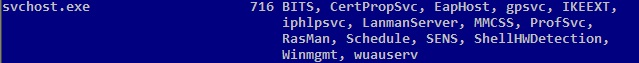 tasklist /svc shows all the process groups under svchost.exe
