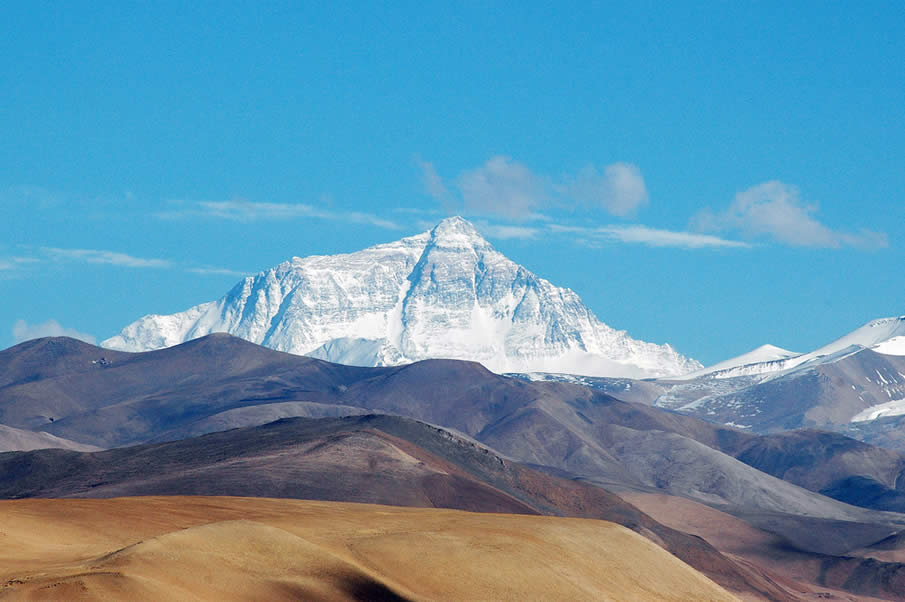 Mount Everest on the border of Tibet and Nepal