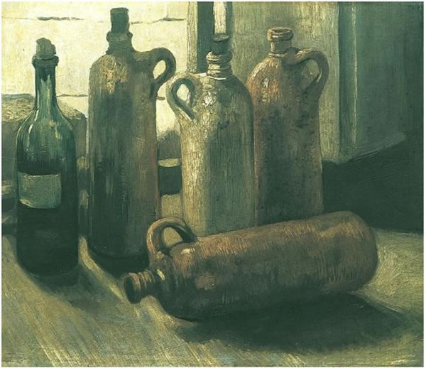 Still Life with Five Bottles