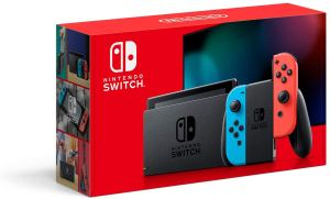 New Nintendo Switch with Neon Blue and Neon Red Joy‑Con