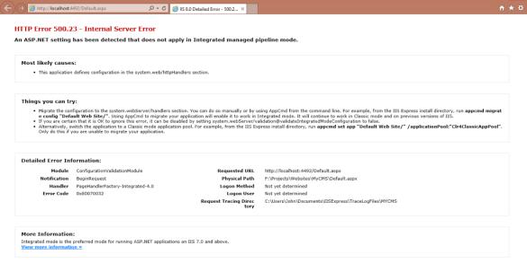 HTTP Error 500.23