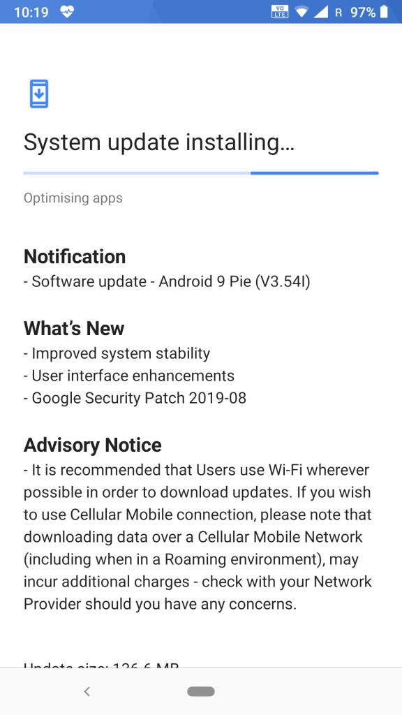 Nokia 6.1 Android 9 V3.54I Installing
