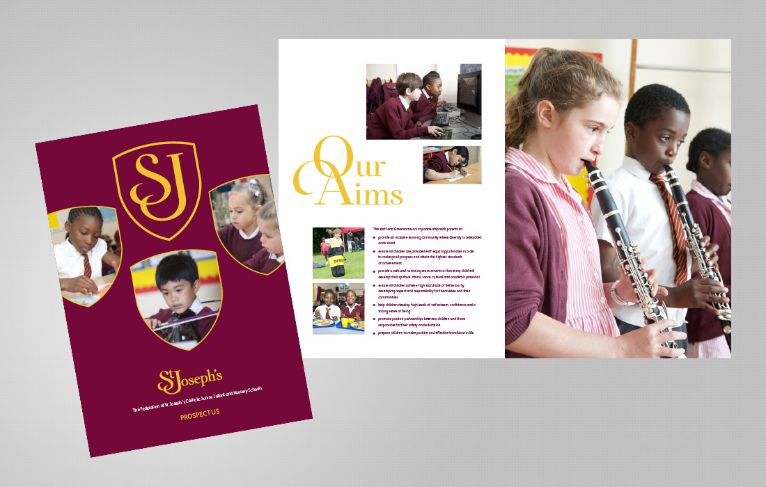 Strongly branded school prospectus for St Joseph's by Pylon Design