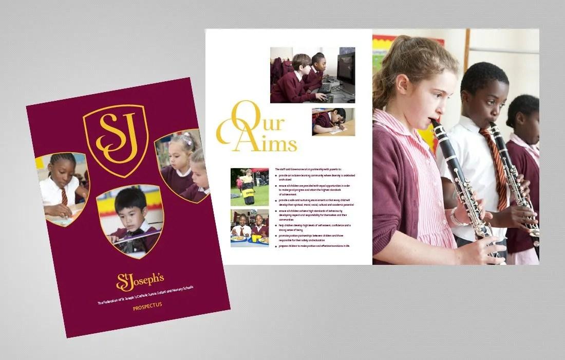 Strongly branded school prospectus for St Joseph's by Pylon Design