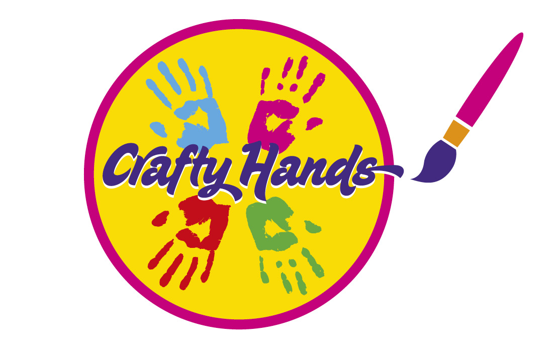 A colourful, fun logo for Crafty Hands by Pylon Design