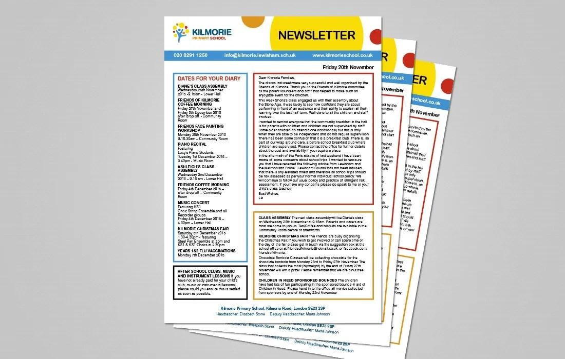 Pre-printed Kilmorie newsletter by Pylon Design