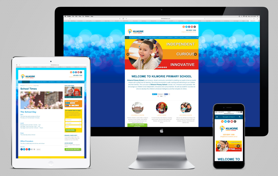 Fully responsive and colourful Kilmorie website by Pylon Design