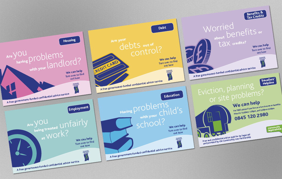 Colour coded postcards for the CLS by Pylon Design