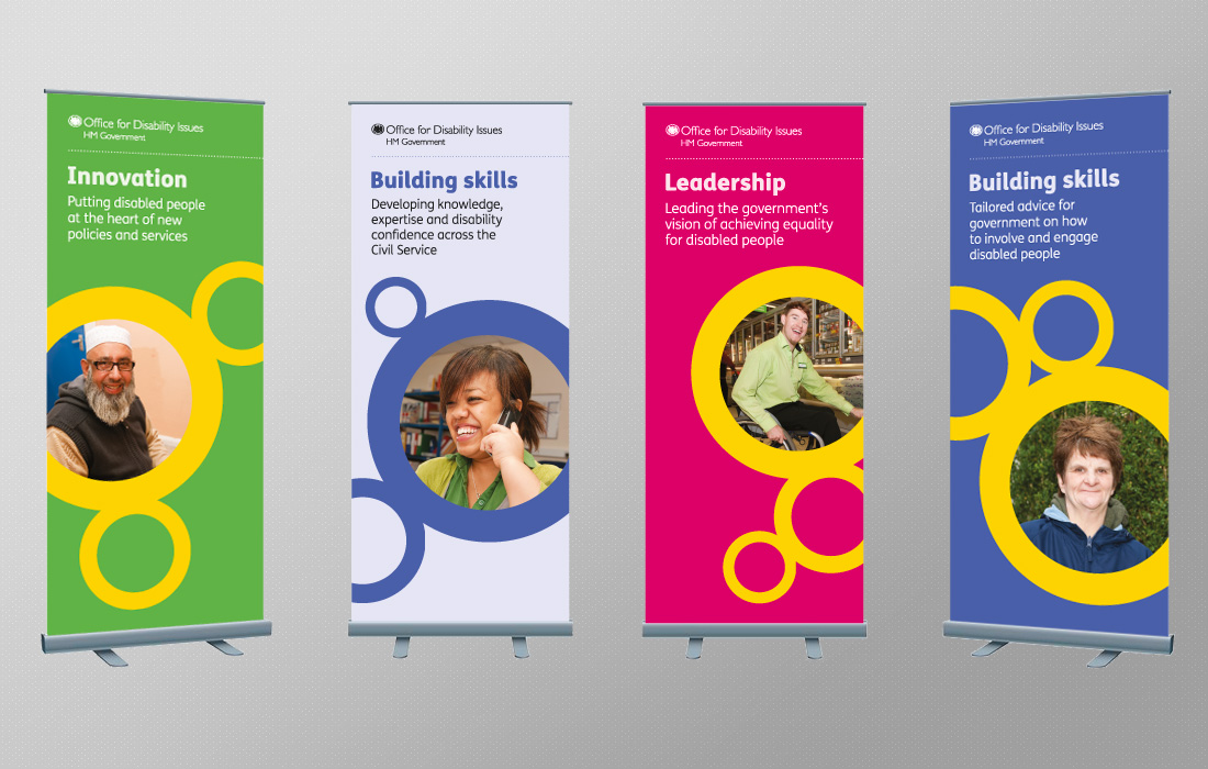 Colourful, corporate pull up banners for the ODI by Pylon Design