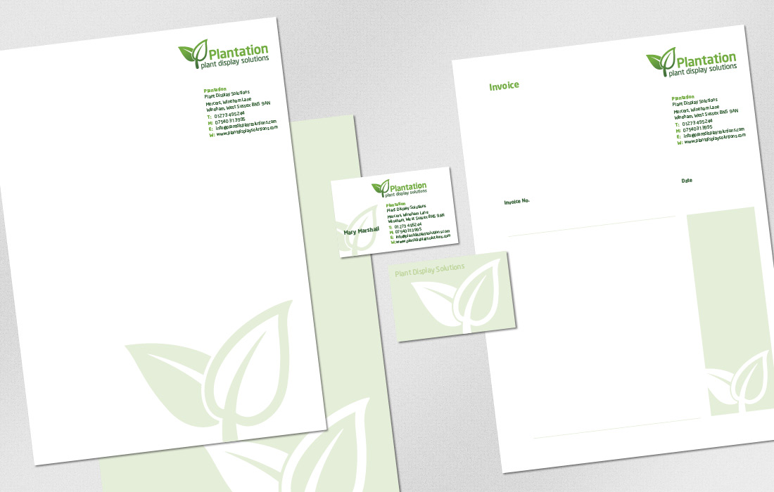 The leaf motif used on Plantations stationery range by Pylon Design