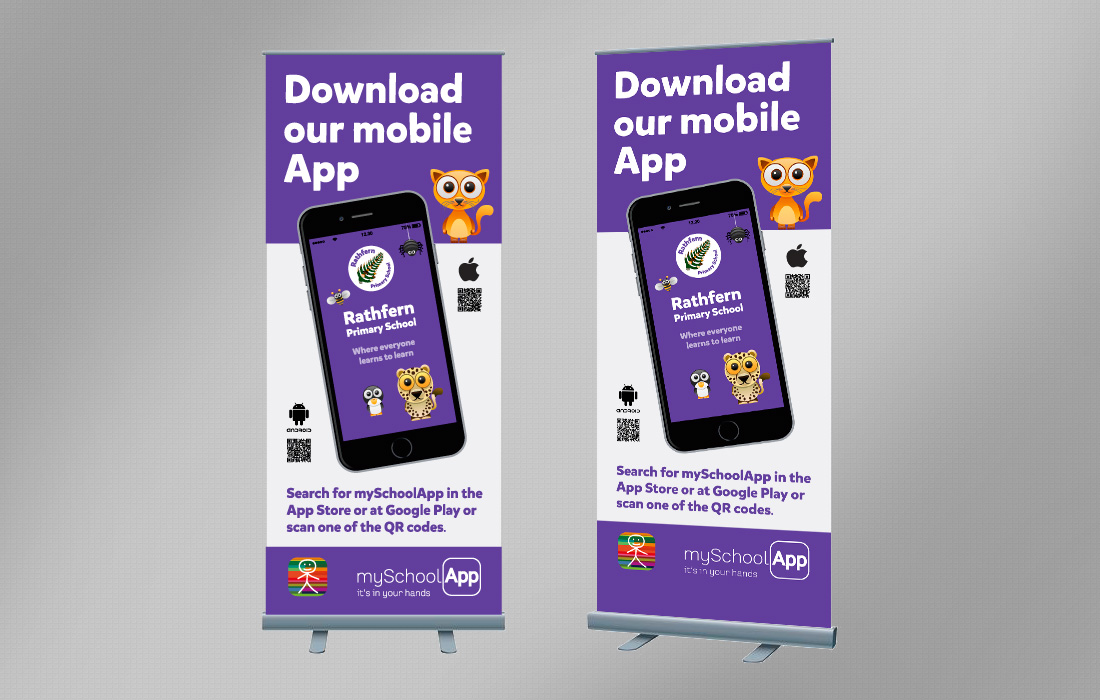 Pull up banner promoting Rathferns mobile App designed by Pylon Design