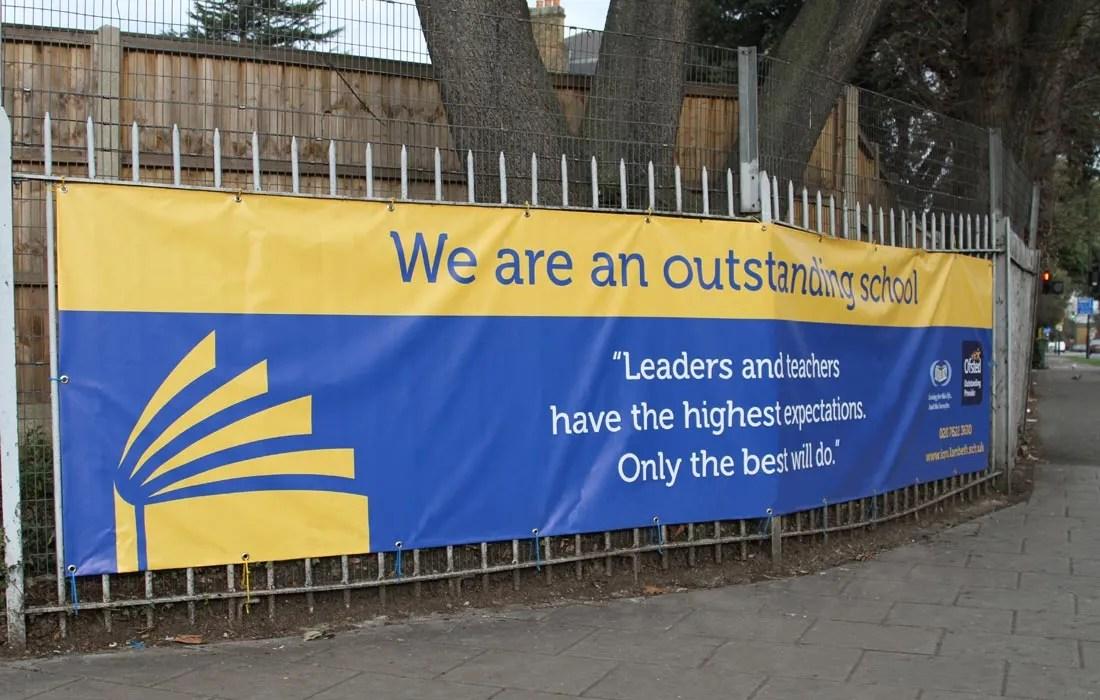 IQRA Primary School in Clapham London, exterior banners