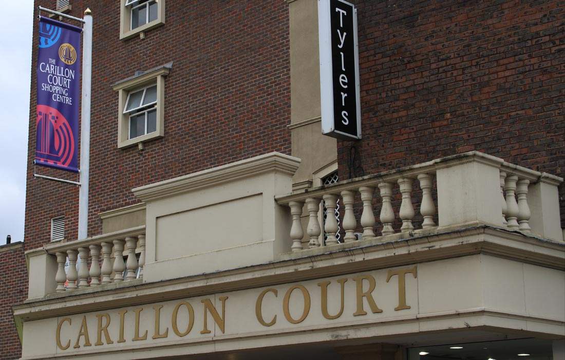 Carillon Court Shopping Centre in Loughborough, banners