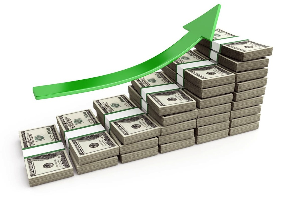 arrow up above a pile of money