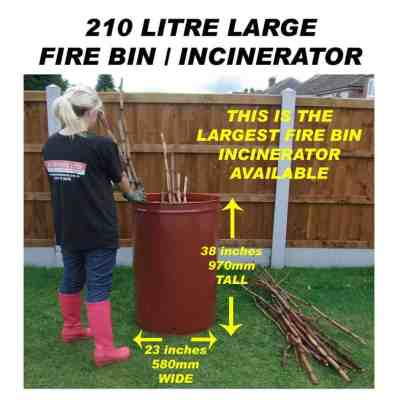 210 litre incinerator for burning large quantities of garden waste