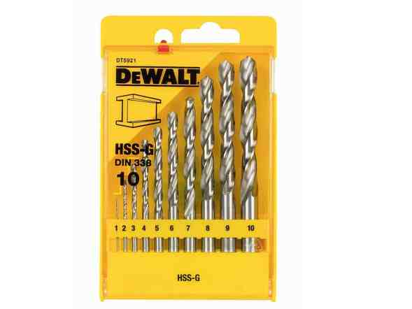 Dewalt HSS-G DIN 338 Jobber Metal Drill Bit Sets - 10 Pieces