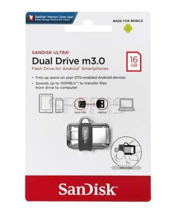 Computer Data Storage SanDisk Ultra 16GB Dual Drive m3.0 for Android Devices and Computers [tag]