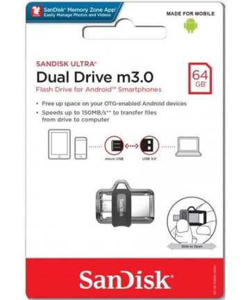 Computer Data Storage SanDisk Ultra 64GB Dual Drive m3.0 for Android Devices and Computers [tag]