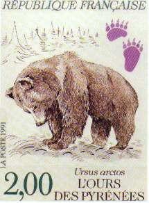 Timbre poste sorti les 14 et 15 septembre 1991 à Saint Lary en hommage à l'Ours.