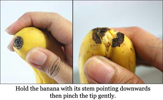 Step 1 of peeling banana