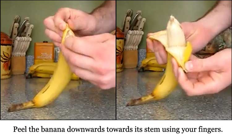 Step 2 of peeling banana