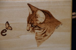 cat and butterfly wood burning pyrography bmj