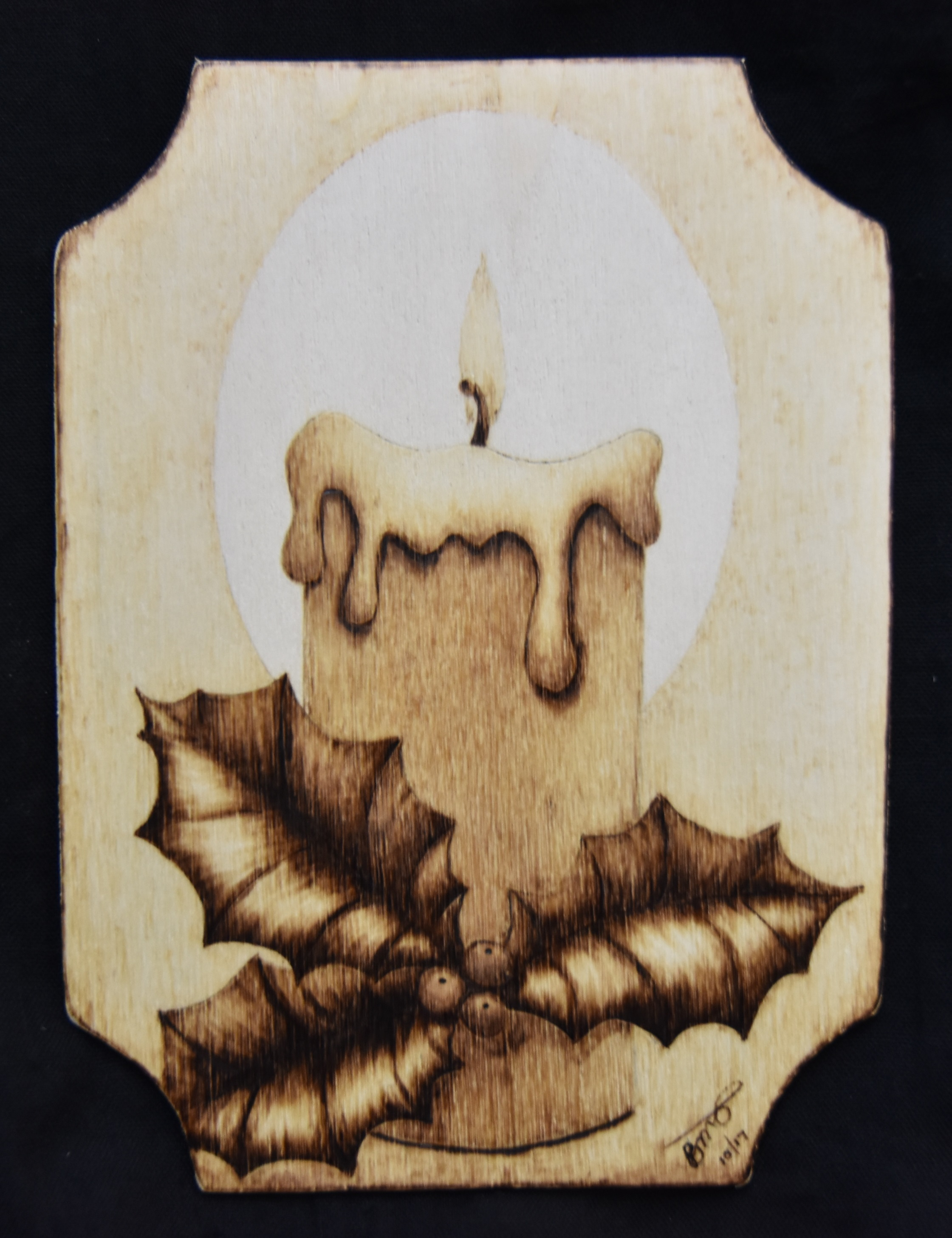 Holly Candle Christmas Postcard 4 Pyrography Tutorial Wood