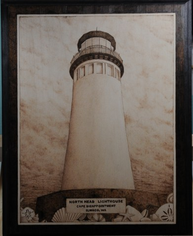 Ilwaco wa lighthouse wood burning pyrography