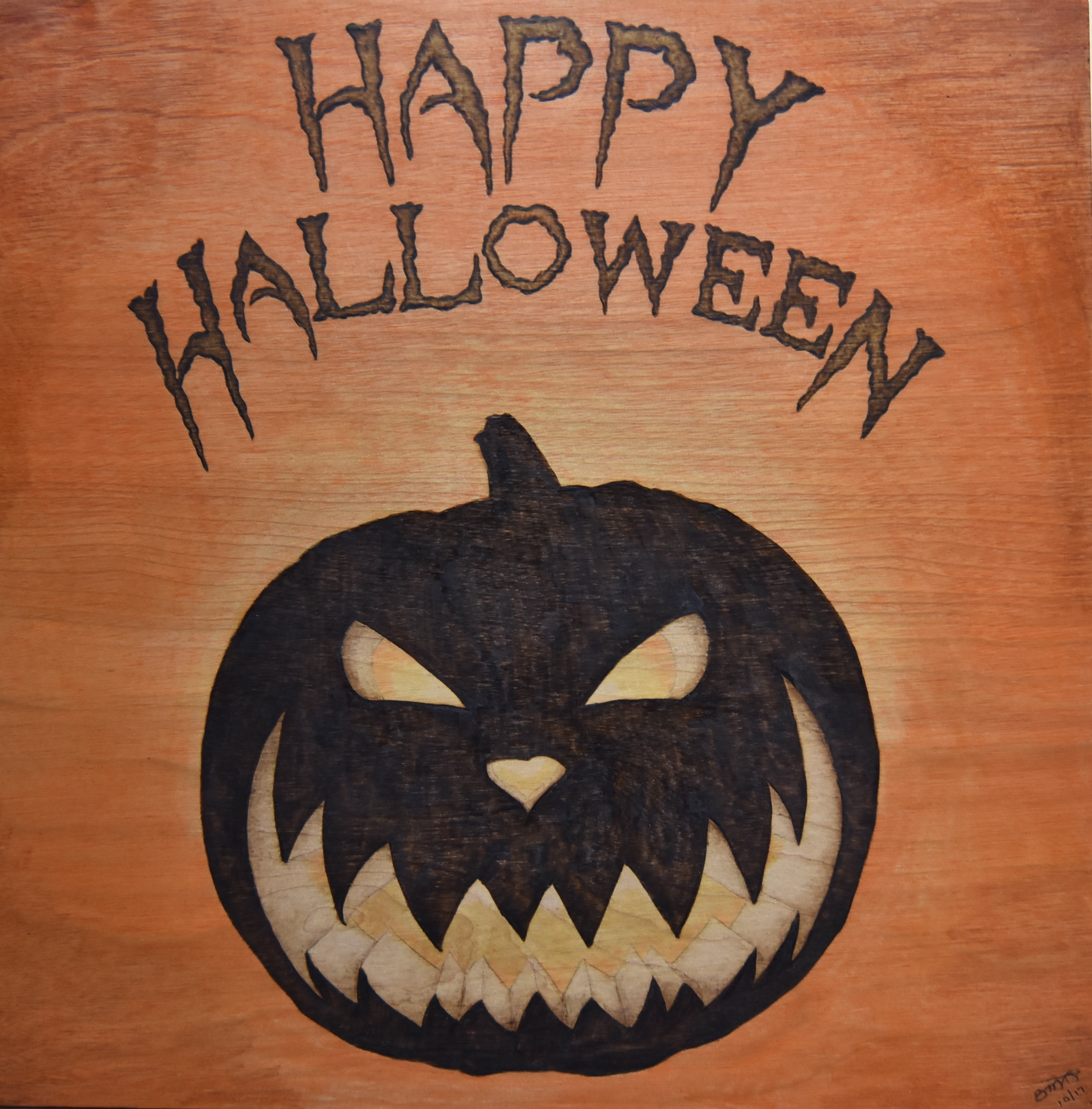 Halloween Sign Pyrography Crayon Tutorial Wood Burning