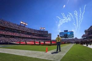 NFL Tennessee Titans fireworks shot pre-game. Photo by Garrett Hill.