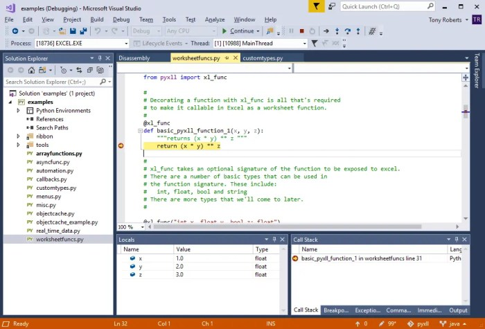Debugging Your Python Excel Add-In   PyXLL