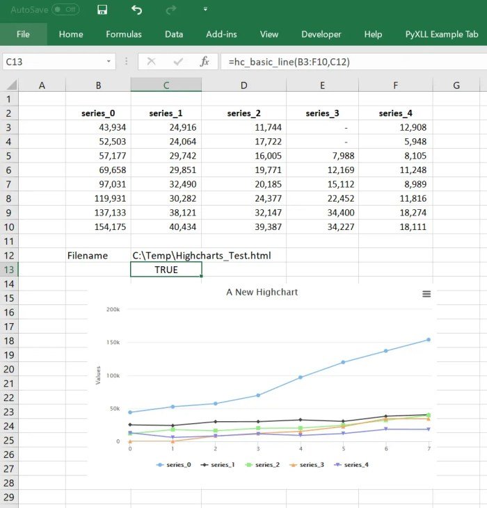 Interactive Charts in Excel with Highcharts | PyXLL