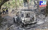 Autoridades investigan sobre vehículo quemado en Yeri de Salitre.