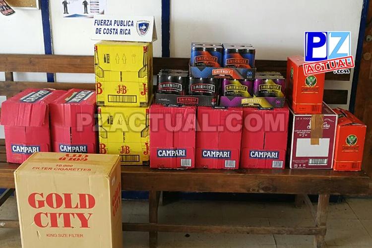 Oficiales de Fuerza Pública decomisan cuantioso cargamento de licor de contrabando en Quepos.