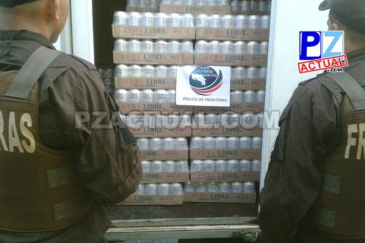 Policía de Fronteras decomisa licor en Paso Canoas valorado por más de 4 millones de colones.