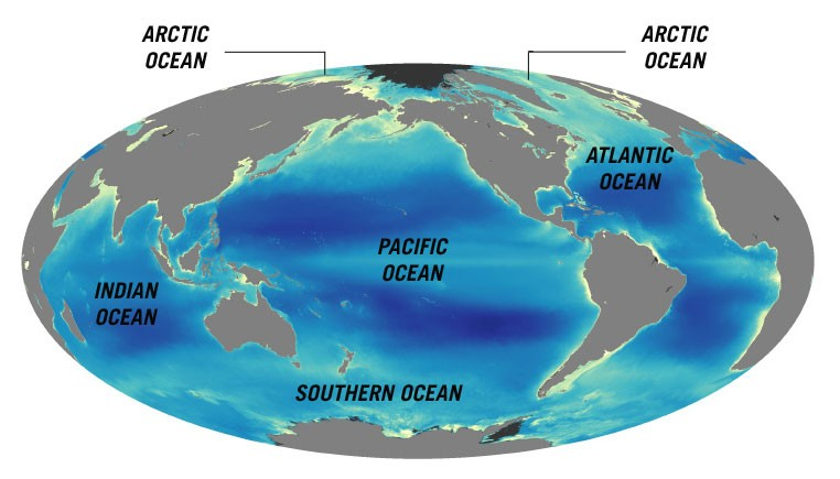 The southern portions of t the four oceans on earth are the pacific, atlantic, indian and arctic. Oceans Q Files Search Read Discover