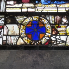 Medieval windows reassembled after WWII from broken glass - St Jean's
