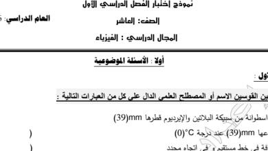 Photo of الصف العاشر نموذج اختبار فيزياء اعداد محمد نعمان 2016-2017