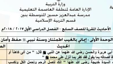 Photo of الصف السابع الأحاديث المقررة اسلامية م. عبد العزيز حسين 2017-2018