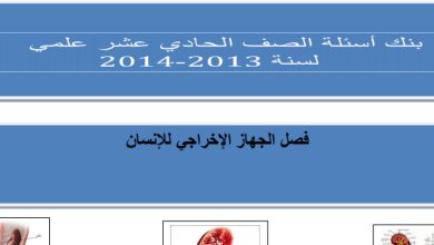 Photo of الصف الحادي عشر بنك أسئلة الجهاز الإخراجي للإنسان أحياء 2013-2014