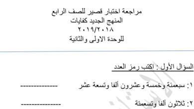 Photo of مراجعة اختبار قصير كفايات الوحدة الأولى والثانية رياضيات للصف الرابع 2018-2019