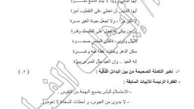Photo of امتحان تجريبي2 لغة عربية الصف الثاني عشر الفصل الثاني منطقة مبارك الكبير 2016-2017