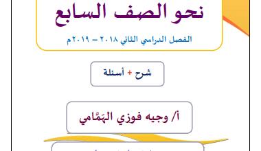 Photo of مذكرة النحو الصف السابع لغة عربية الفصل الثاني إعداد وجيه فوزي الهمامي 2018-2019