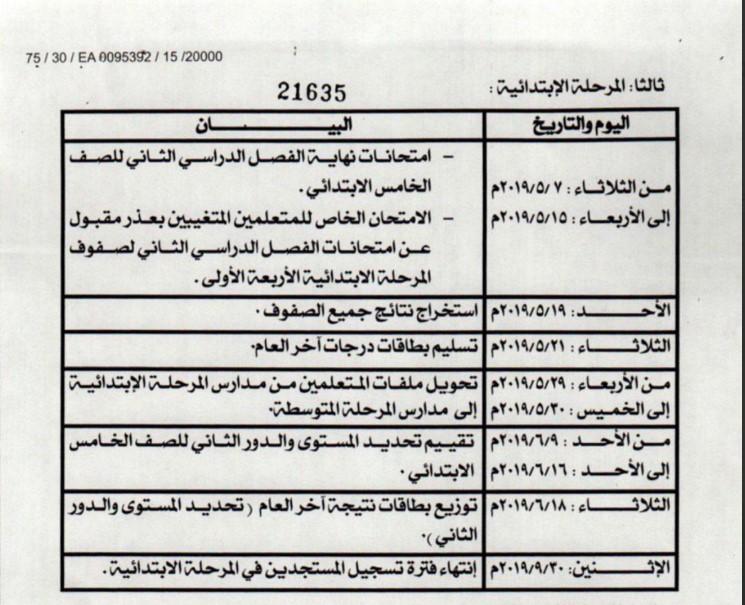 مواعيد اختبارات الدور الثاني لجميع المراحل 2018-2019