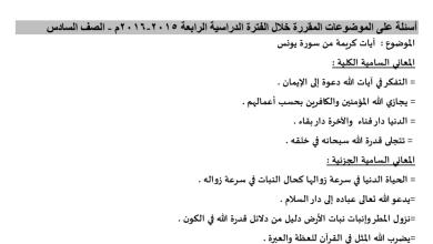 Photo of الصف السادس أسئلة الموضوعات المقررة ف4 عربية م. ابن النفيس 2015-2016