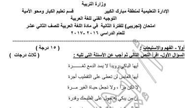 Photo of الصف الثاني عشر امتحان تجريبي لغة عربية مبارك الكبير 2016-2017