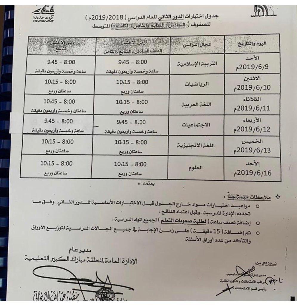 جدول اختبارات الدور الثاني منطقة مبارك الكبير التعليمية 2018-2019